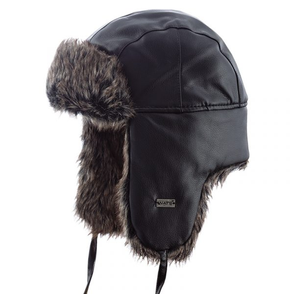 Aviator style hat with fun fur lining | Black | NAT'S | H210