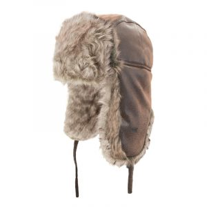 Aviator style hat with fun fur lining | Brown | NAT'S | H210