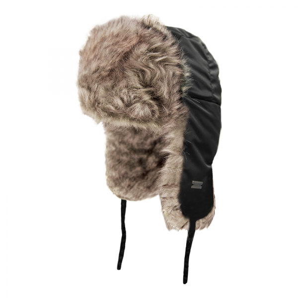 Aviator style hat with fun fur lining | Black | NAT'S | H200