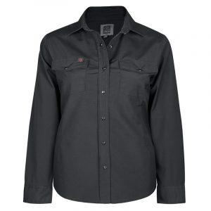 Women's stretch work shirt | Plus size | Black | P&F Workwear | PF430
