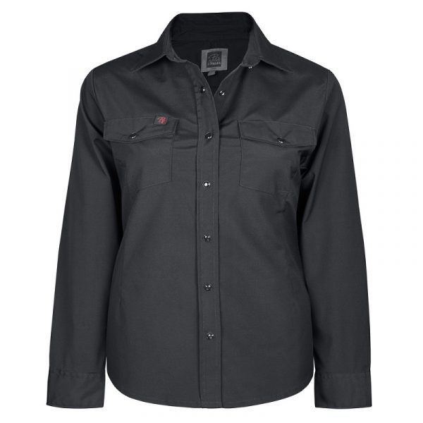 Women's stretch work shirt | Plus size | Black | P&F Workwear | PF430
