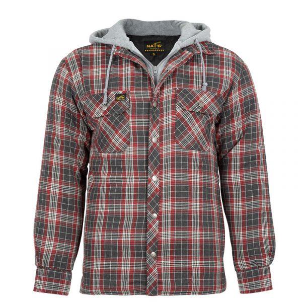 Men's padded work shirt | Grey-Red | NAT'S | WK050