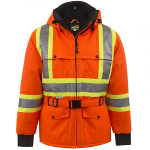 High visibility winter jacket with reflective stripes | Orange | NAT'S | WK700