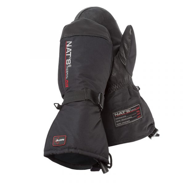 Snowmobile mitts made of deerskinand polyester | Black | NAT'S | M985