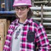 Women's padded plaid work shirt | Raspberry | P&F Workwear