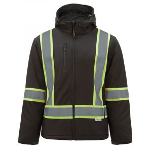 Men's high visibility softshell jacket with reflective stripes | Noir | NAT'S | HV510