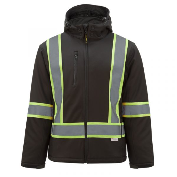 High visibility softshell jacket with reflective stripes | Black | NAT'S | HV510