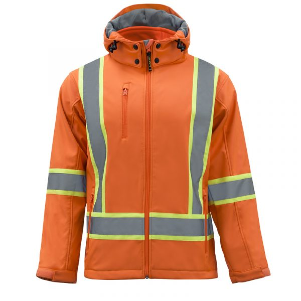 Men's high visibility softshell jacket with reflective stripes | Orange | NAT'S | HV510