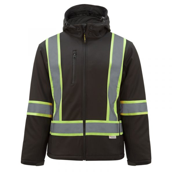 Men's high visibility insulated softshell jacket with reflective stripes | Black | NAT'S | HV512