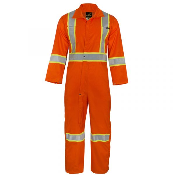Men's high visibility coverall with reflective stripes | Orange | NAT'S | HV950