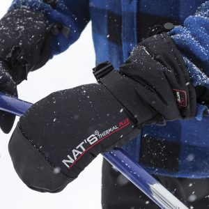 Snowmobile mitts made of deerskin and polyester | Black | NAT'S | M985