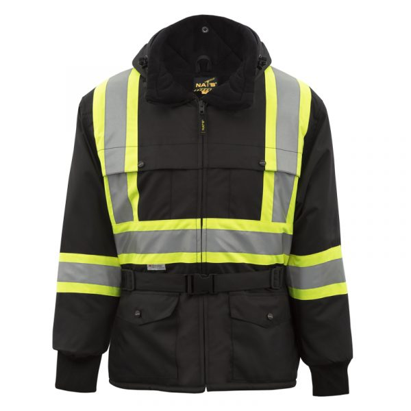 High visibility winter jacket with reflective stripes | Black | NAT'S | WK700
