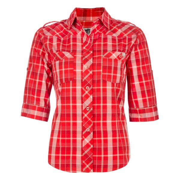 Chemise de travail en coton pour femme | Rouge | Pilote et Filles | PF452