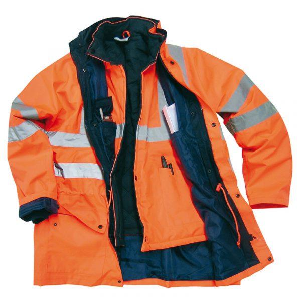 Manteau haute visibilité avec doublure détachable | Orange | NAT'S | N018J