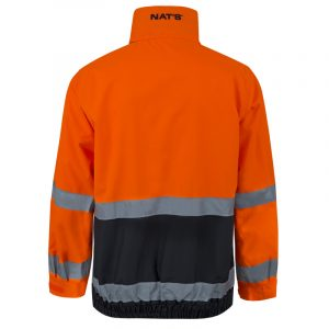 Waterproof high visibility jacket with reflective stripes | Orange | NAT'S | N840J