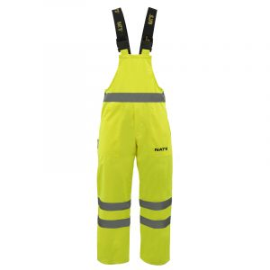 Waterproof high visibility bib pant with reflective stripes | Lime | NAT'S | N842P