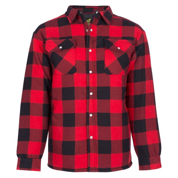 Quilted flannel work shirt for men│Red │NAT'S│WK048