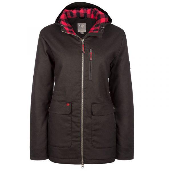 Manteau doublé en canevas extensible pour femme | Noir | Pilote et Filles | PF482