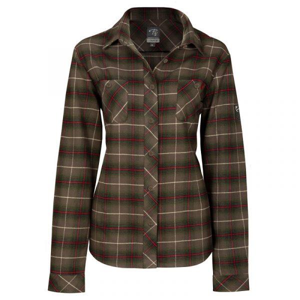 Women's plaid flannel work shirt | Kaki | P&F Workwear | PF470