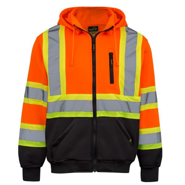 High visibility hoodie for men | Orange | NAT'S | HV078