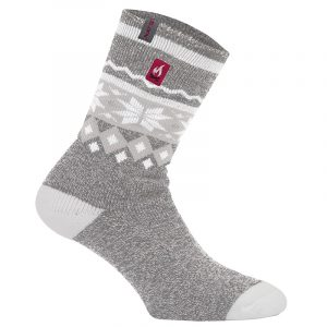 Thermal socks for women | Light Grey Snowflakes | NAT'S | WK962