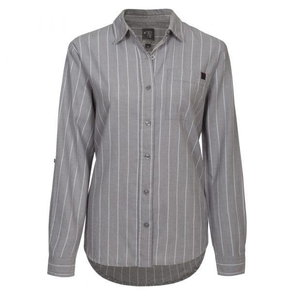Flannel work shirt for women   Grey Striped   P&F Workwear   PF475