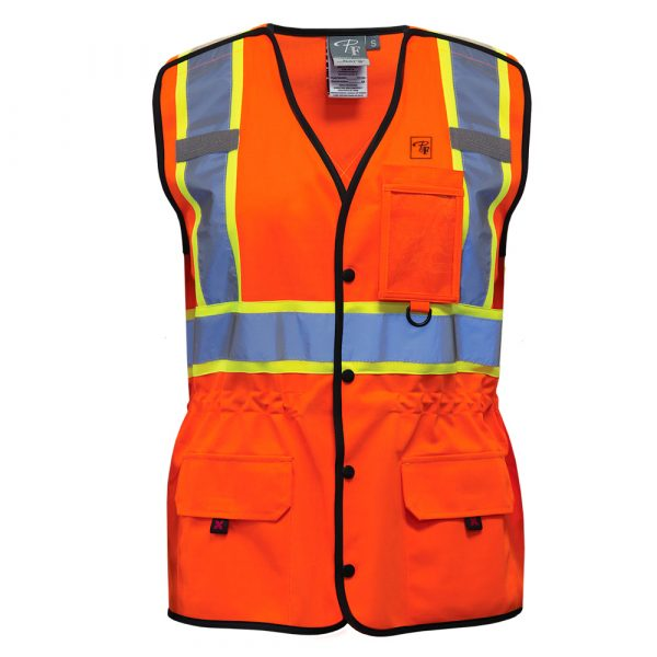 High visibility safety vest for women   Orange   P&F Workwear   PF760