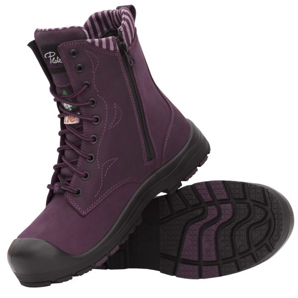 Work boots with zipper for women   Purple   P&F Workwear   PF358